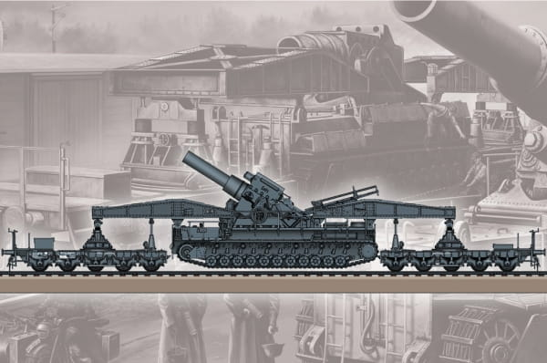 German KARL-Geraet 040/041 on Railway Transport Carrier / 1:72