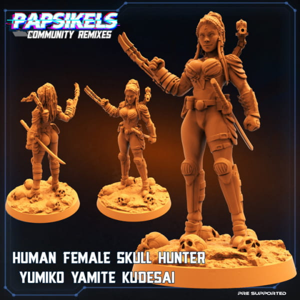 Human Female Skull Hunter Yumiko unmasked
