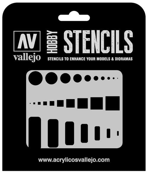 Vallejo Hobby Stencils: Access Trap Doors Markings - 1:32 / 1:48 / 1:72
