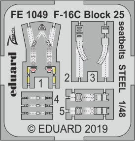 F-16C Block 25 seatbelts STEEL - Tamiya - 1/48