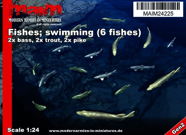 MAiM / Front46 Fishes; swimming (6pcs) - Pike / Trout / Bass / 1:24