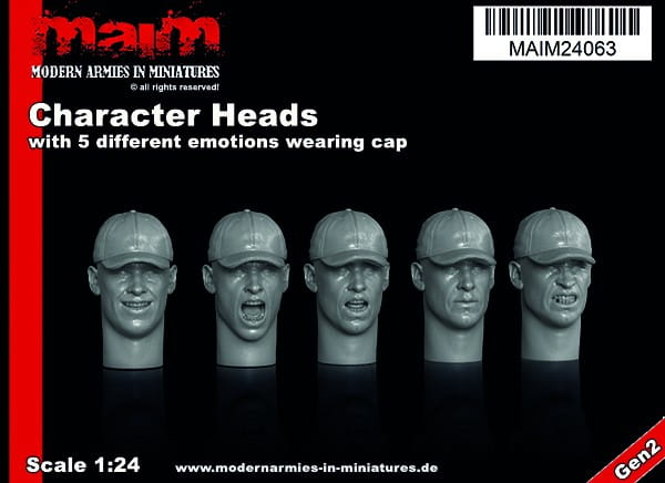Character Heads set with 5 different emotions wearing Cap (5 Heads) / 1:24