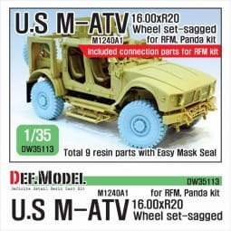 US M1240A1 M-ATV Sagged Wheel set - for RFM, Panda / 1:35