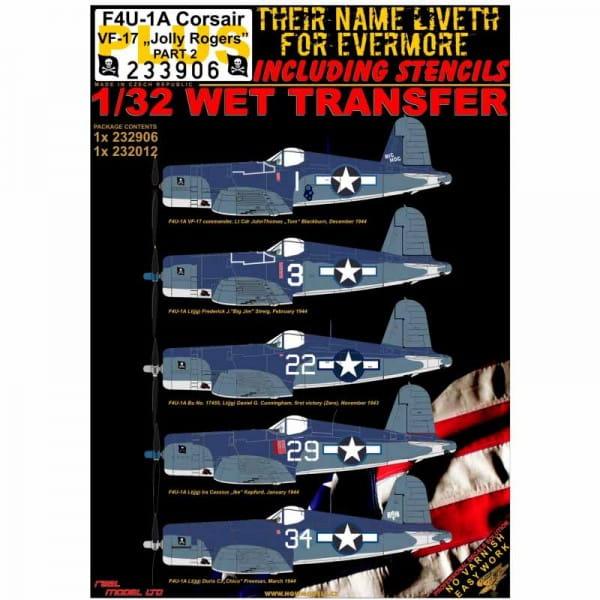 HGW Decals WET TRANSFER: F4U-1A VF-17