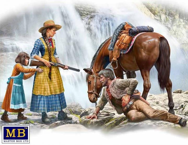 Outlaw. Gunslinger series. Kit No. 1. Marshal Tom Tucker, Molly and Rebecca Hanson / 1:35
