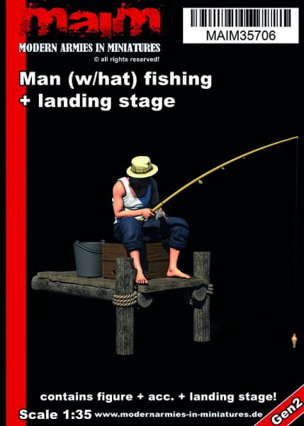 MAiM / Front46 Man (with hat) fishing + small landing stage / 1:35