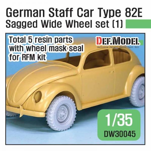 Def.Model WWII German staff car Type 82E Wide Wheel set (1) - for RyeField / 1:35