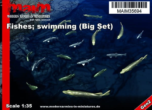 MAiM / Front46 Fishes; swimming (18pcs) - Pike / Trout / Bass / 1:35