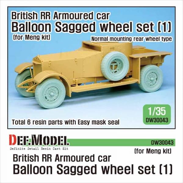 Def.Model British RR Armoured car balloon Sagged Wheel set- 1 for Meng / 1:35