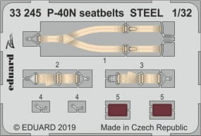 P-40N seatbelts STEEL - Trumpeter - / 1:32