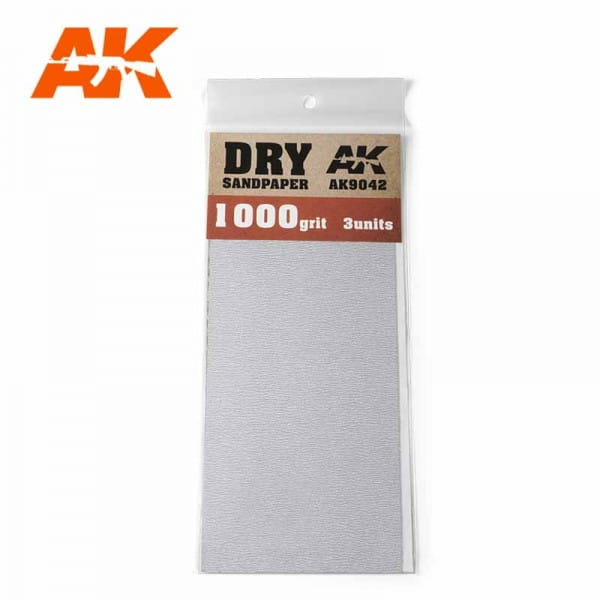 AK Interactive Dry Sandpaper 1000 Grit. 3 units