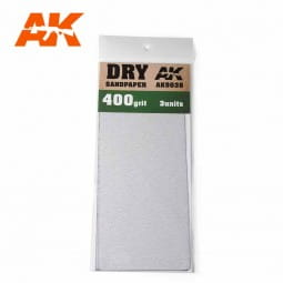 Dry Sandpaper 400 Grit. 3 units