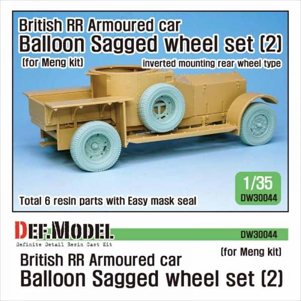 Def.Model British RR Armoured car balloon Sagged Wheel set- 2 for Meng / 1:35