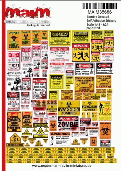 Postapocalyptic / Zombie Warning Signs (self adhesive Decals - Mega Pack 3) / Uniscale