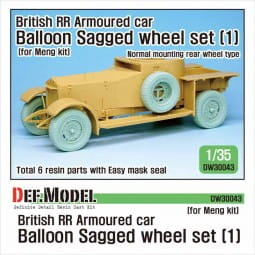 British RR Armoured car balloon Sagged Wheel set- 1 for Meng / 1:35