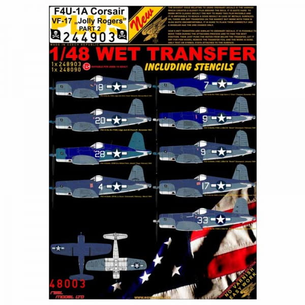 HGW Decals Wet Transfers: F4U-1A Corsair VF-17